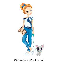 City Redhair Girl Walking With Dog - Vector illustration of...
