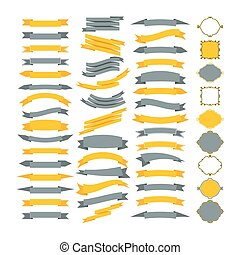 Collection of vector design elements. Big set of frames and ribbons. Designers collection