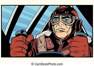 retro military Aviator pilot pop art retro style The first...