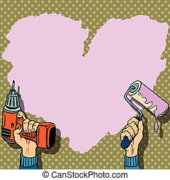 Love heart background paint wall repair pop art retro style....