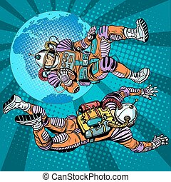 weightlessness astronauts in space over the earth pop art...