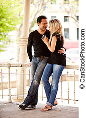 Couple Holiday - A happy couple on vaction in an urban...