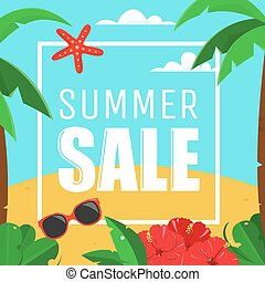 Summer Sale Card with palms and hibiscus flowers, no...