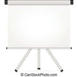 Projection screen with tripod on a white background.