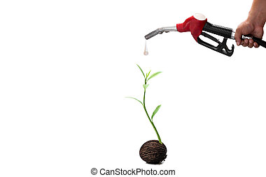 Environment concept hand holding fuel nozzle and new life plant