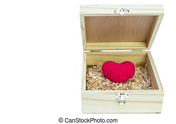 Opened wooden box with heart - Concept of love Opened wooden...