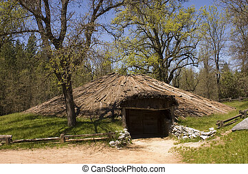 American indian lodge - American indian, Miwok tribal...