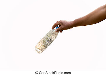 Hand holding recyclable plastic bottle isolated in white...