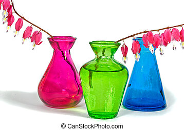 Light Hearted - Bleeding heart sprigs in colorful vases