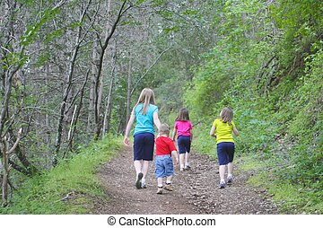 Kids walking on trail