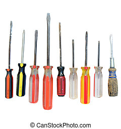 Screw Drivers - A bunch of used isolated screw drivers...