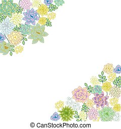 Succulent garden border card design. Corner space greeting...