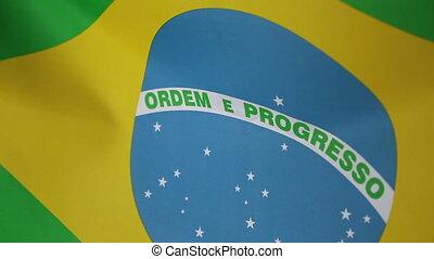 Closeup of a textile Brazilian flag - Closeup of a textile...
