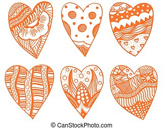 set of hand drawn hearts - Set Hand drawn red hearts in...