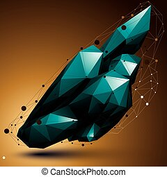 3D mesh contemporary style abstract object, origami...