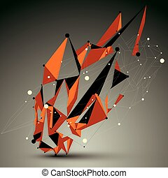 3D vector abstract golden technology mesh shape, perspective...