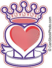 Loving heart artistic illustration with king crown. Royal sophisticated symbol, imperial accessories. Valentine's day romantic design element, best for use in advertising and graphic design.