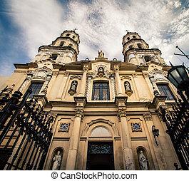 San Pedro Telmo church, - The facade of a Church in Buenos...
