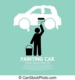 Man Painting Car On Wall.