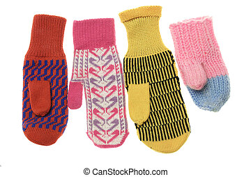 multicoloured wool mittens - four different motley wool...