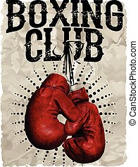 Vintage Boxing Gloves vector illustration. Template for...