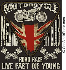 Motorcycle typography; vintage motor; t-shirt graphics;...