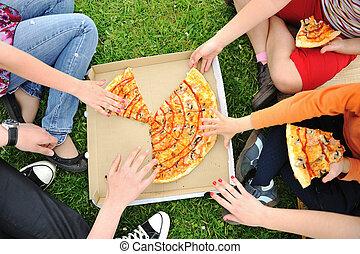 家族, 屋外, ピザ