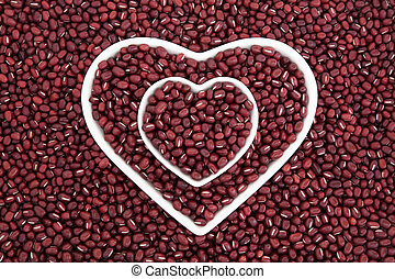 Adzuki Beans - Adzuki bean health food in heart shaped...