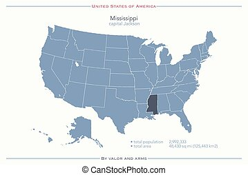 mississippi - United States of America isolated map and...