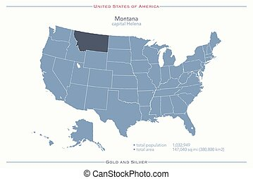 montana - United States of America isolated map and Montana...