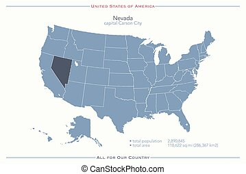 nevada - United States of America isolated map and Nevada...