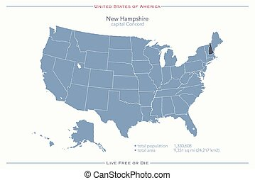 new hampshire - United States of America isolated map and...