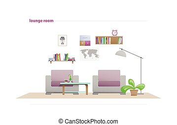 lounge - contemporary lounge room with furniture isolated on...