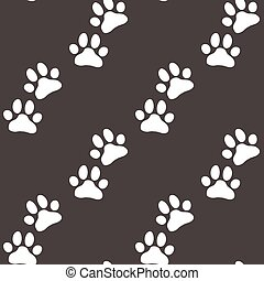 Paw zoo pattern. Brown vector for zoo design.