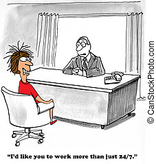 Work More Hours - Business cartoon about a boss that demands...