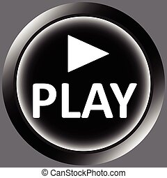 Icon black play and symbol - Icon the button with the play...