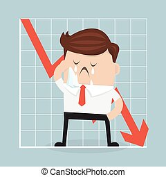 Sad businessman with graph indicating a regression.