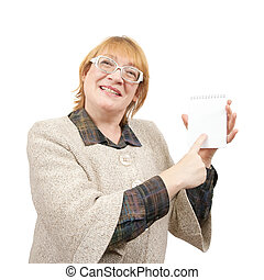 smiling senior woman pointing on empty notebook Isolated...