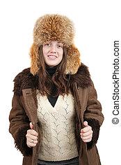 woman in sheepskin coat
