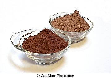 cocoa cake and cocoa powder