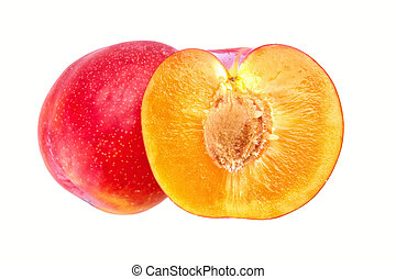 Group of plums on a white background