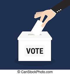 Voting concept, Vote ballot with box, Vector illustration