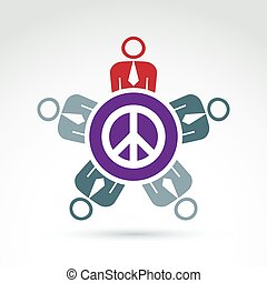 Illustration of a group of people sitting around a peace sign, hippy community. Harmony and freedom conceptual icon. Conference on peace theme.