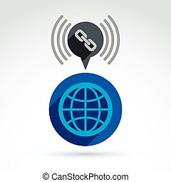 Linked world, earth globe with chain link symbol, vector conceptual icon.