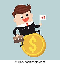 Businessman riding flying money, flat design