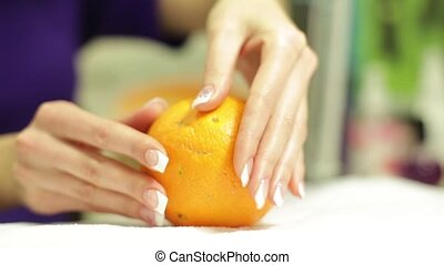 French Manicure On A Background Of Orange