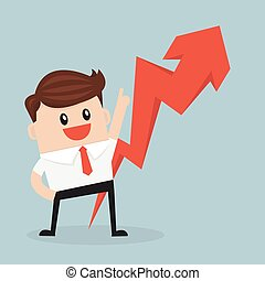 businessman pointing up the arrow. vector