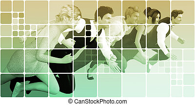 Business People Running as a Abstract Website Background