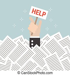 Businessman need help under a lot of white paper, flat...