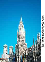 Traditional street view of marienplatz in Munich, Germany